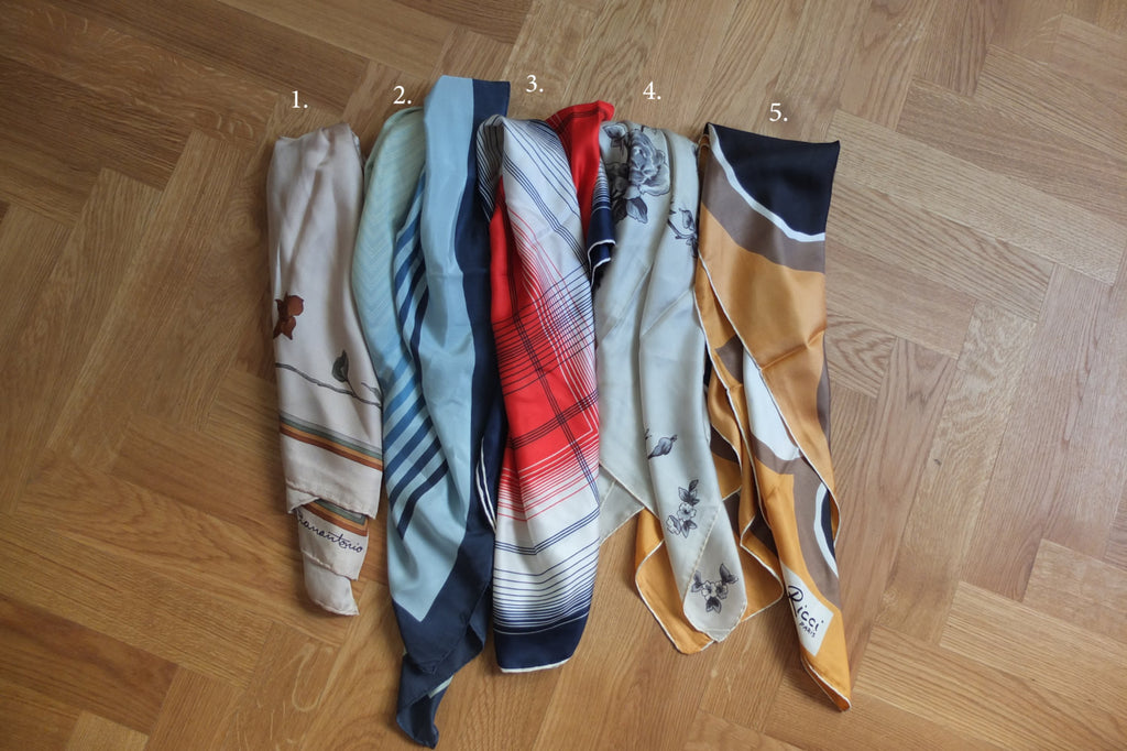 TRICOLOR SCARF (BRAND:ELIZABETH ROMA, European vintage)-sold out