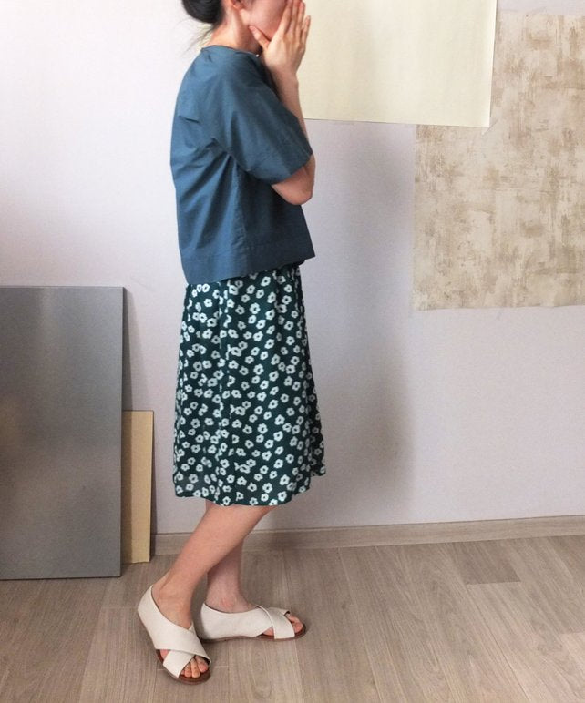 Origami Blouse-teal(sold out)