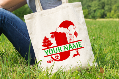 Personalised Christmas Initial Gift Bag / Tote Bag - J