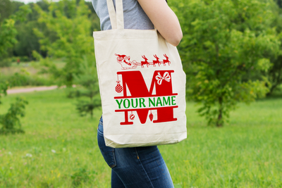 Personalised Christmas Initial Gift Bag / Tote Bag - M