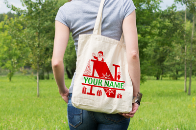 Personalised Christmas Initial Gift Bag / Tote Bag - N
