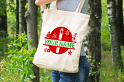 Personalised Christmas Initial Gift Bag / Tote Bag - O