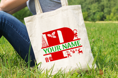Personalised Christmas Initial Gift Bag / Tote Bag - P