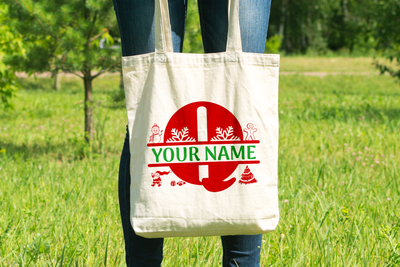 Personalised Christmas Initial Gift Bag / Tote Bag - Q