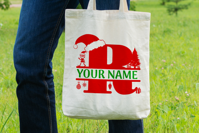 Personalised Christmas Initial Gift Bag / Tote Bag - R
