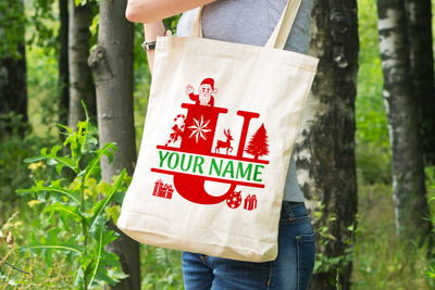 Personalised Christmas Initial Gift Bag / Tote Bag - U
