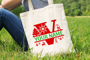 Personalised Christmas Initial Gift Bag / Tote Bag - V