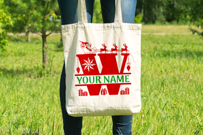 Personalised Christmas Initial Gift Bag / Tote Bag - W