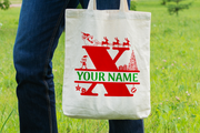 Personalised Christmas Initial Gift Bag / Tote Bag - X