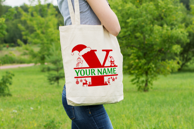 Personalised Christmas Initial Gift Bag / Tote Bag - Y