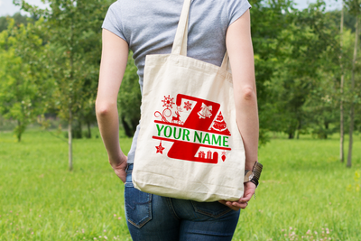 Personalised Christmas Initial Gift Bag / Tote Bag - Z
