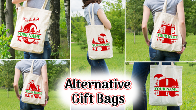 Personalised Christmas Initial Gift Bag / Tote Bag - A -Z