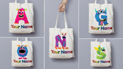 Personalised Monster Initial Gift Bag / Tote Bag - A -Z