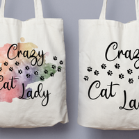 Crazy Cat Lady With Paw Prints - Tote Bag