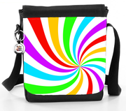 Rainbow and White Swirl Sunburst Pattern Bag - Reporter Bag