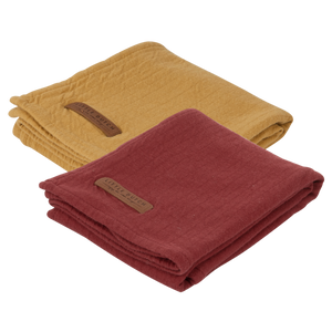 Little Dutch swaddle doek - Pure indian red /ochre - 2 Pack