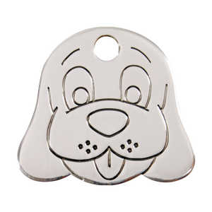 Flat Dog Face Pet Tag