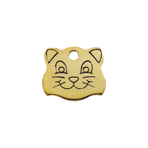 Cat Face Brass Pet Tag