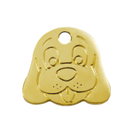 Dog Face Brass Pet Tag
