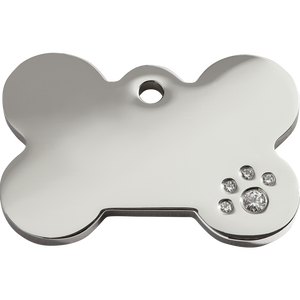 Bone Swarovski  Diamanté Stainless Steel Pet Tag