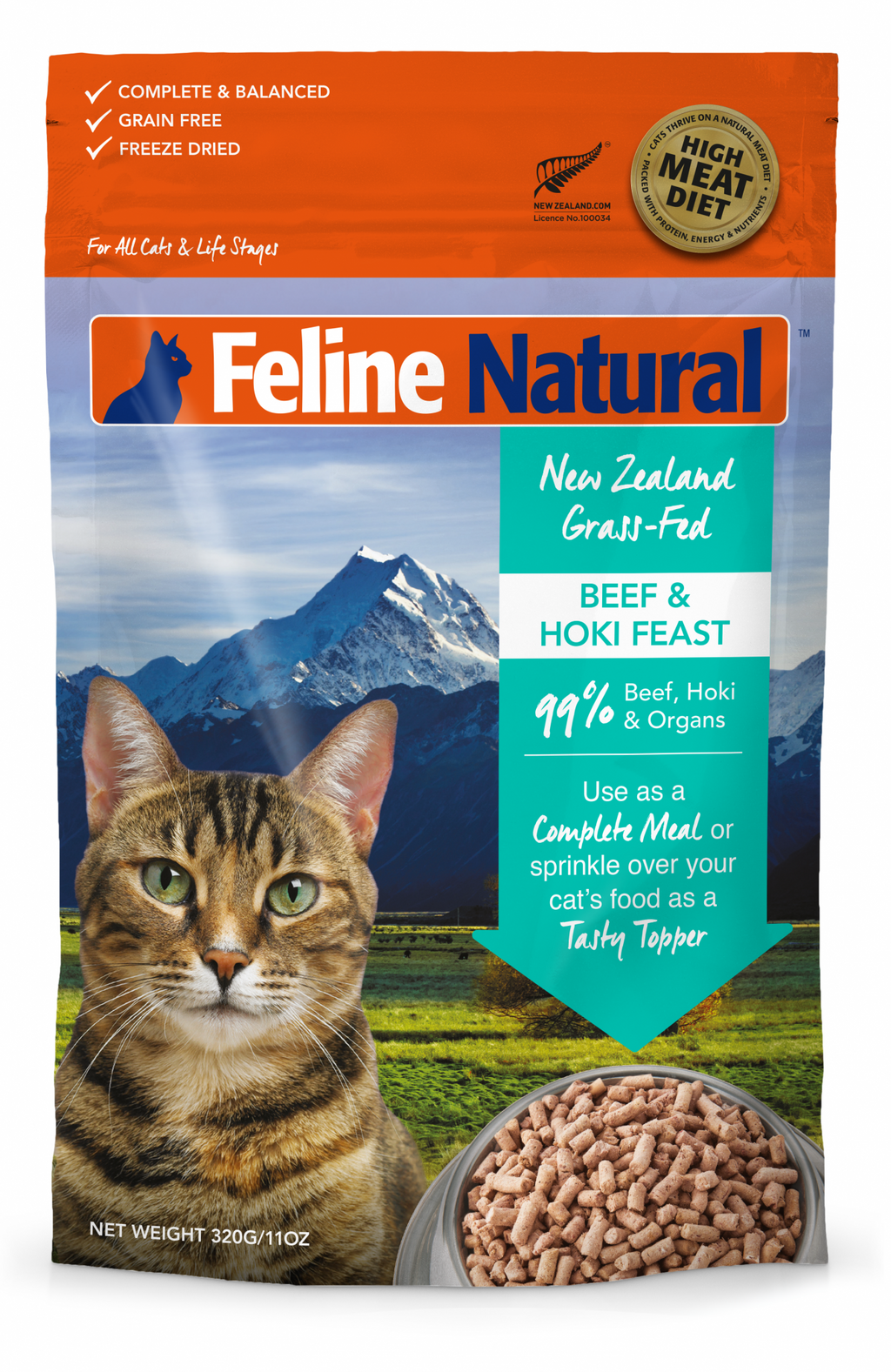 Feline Natural Beef & Hoki Freeze Dried 320g