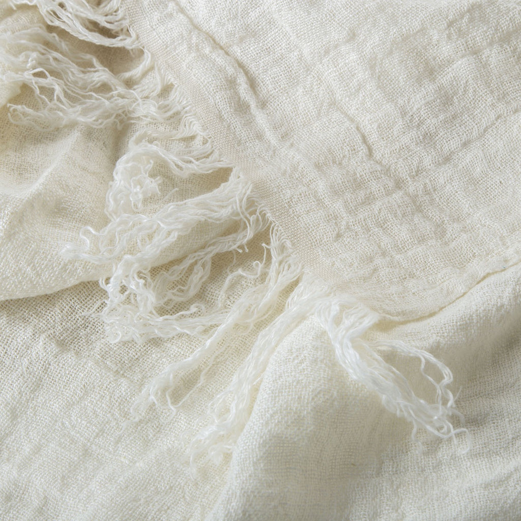 100% linen bed cover - ivory