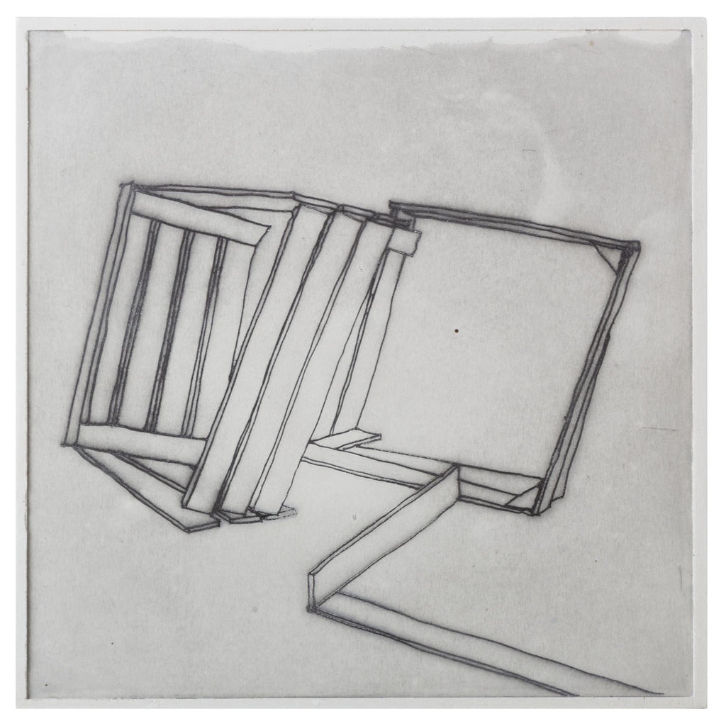 bec stevens print on plaster: inventory #1 staircases, ladders and bridges apple crates, channel highway, woodbridge