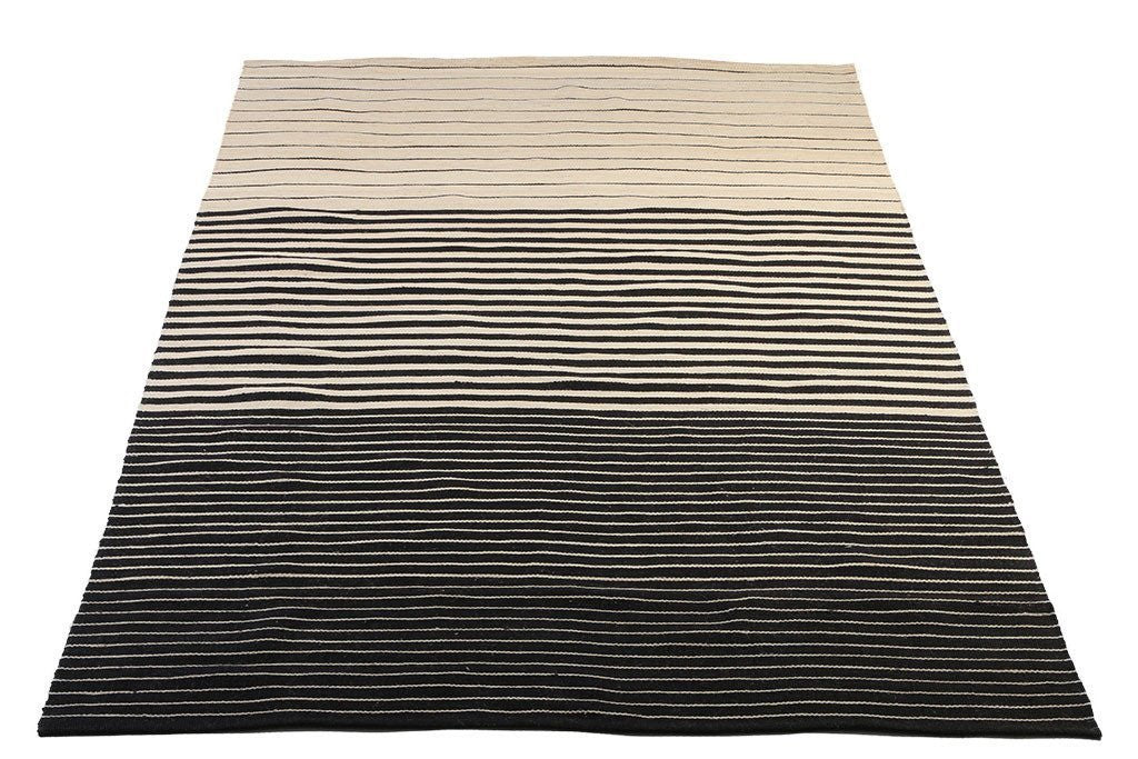 hand woven flat-weave dhurrie style, black and white stripes