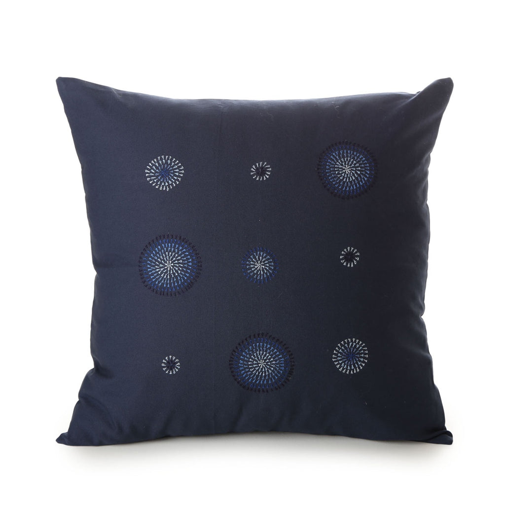 hand embroidered cotton cushion cover - tamil nadu - handwash in lukewarm water - blue starburst pattern