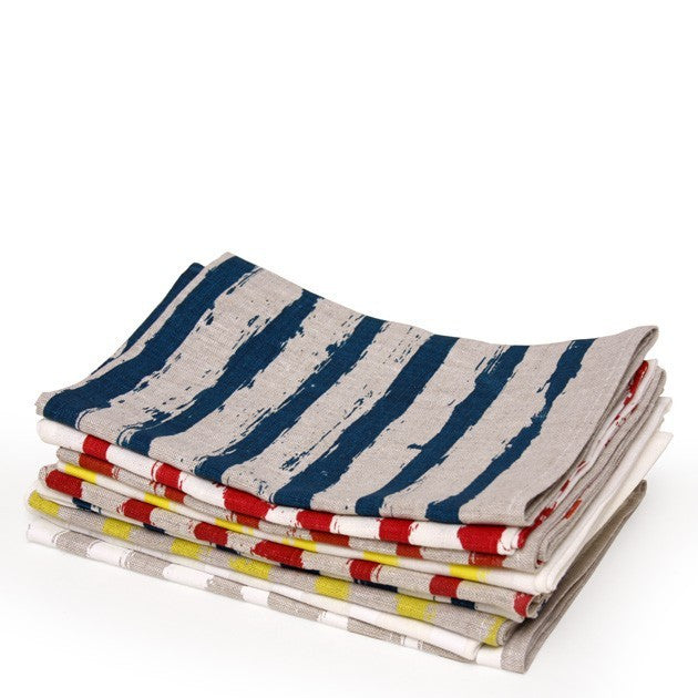 planet striped tea towel