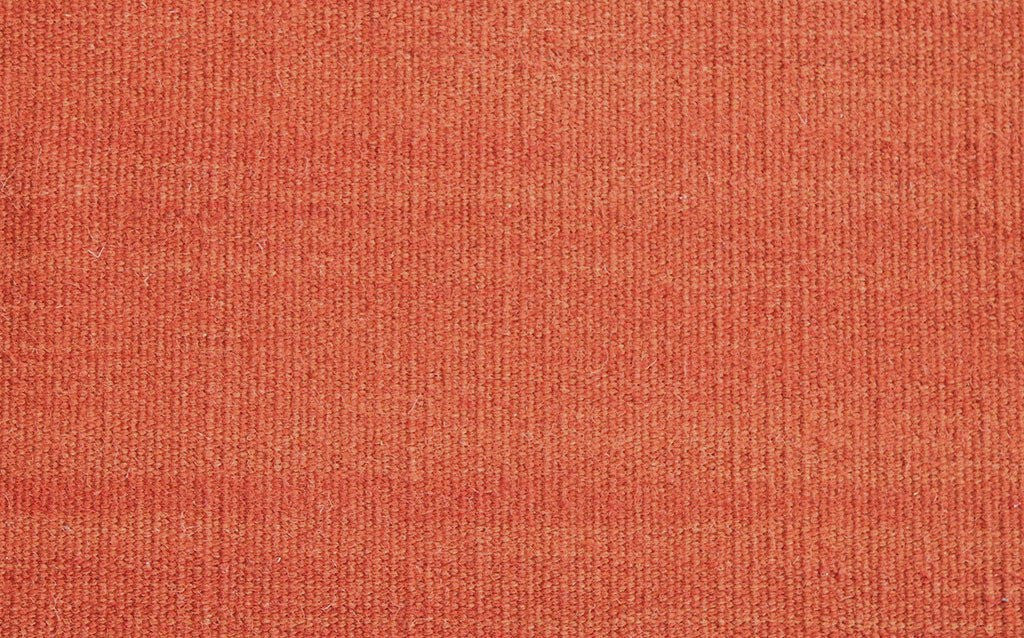 hand woven thicker flat-weave dhurrie style, abrush orange rust
