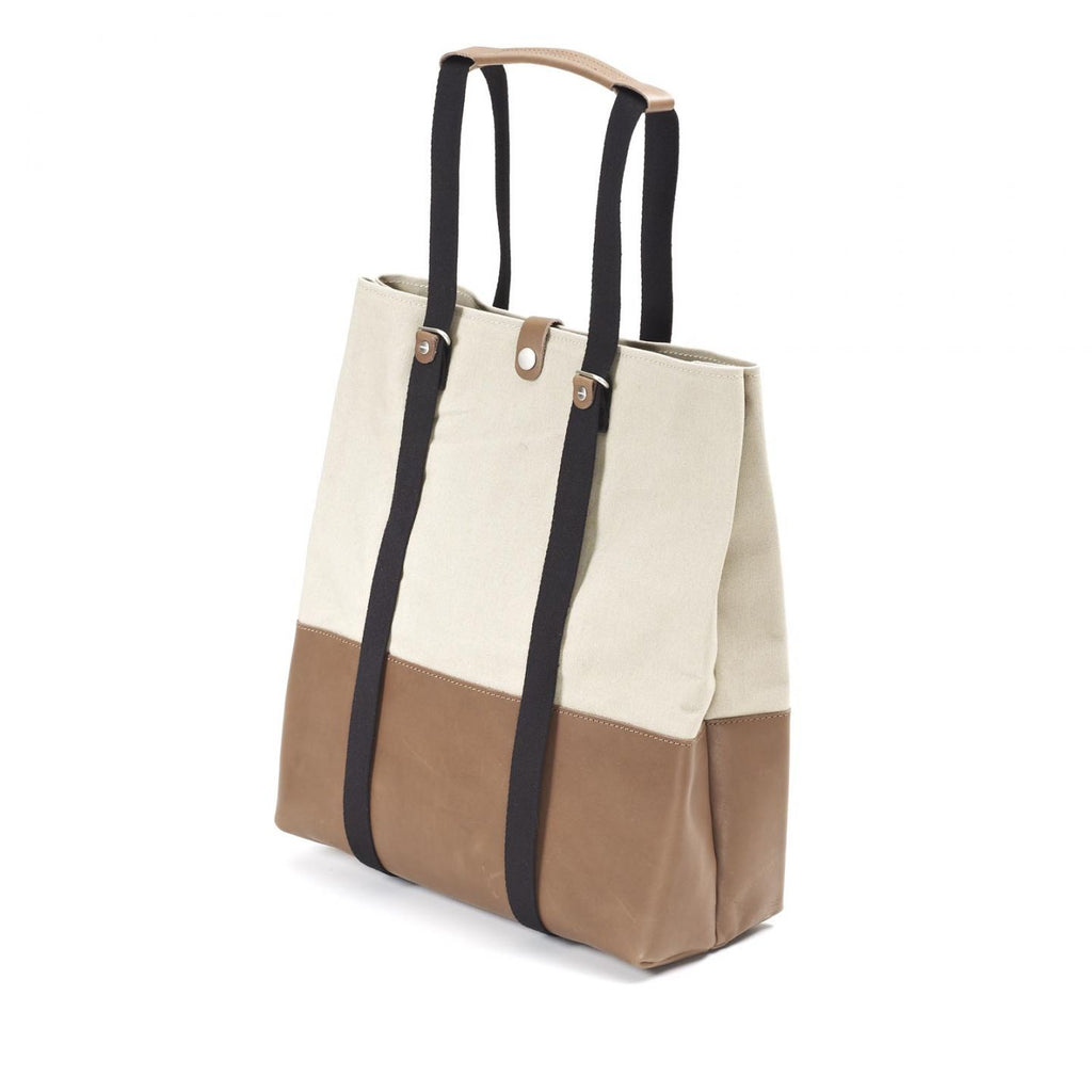 shopper - brown leather canvas