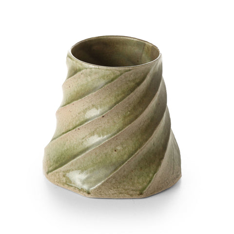 terunobu hirata - twisted facetted ash green vase