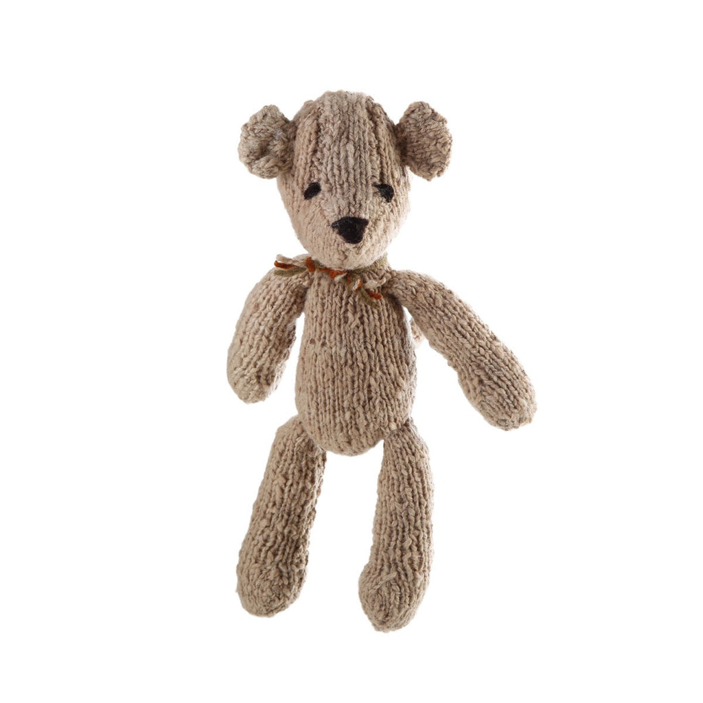 latte ditsy bear - hand spun wool, hand knitted in Kenya