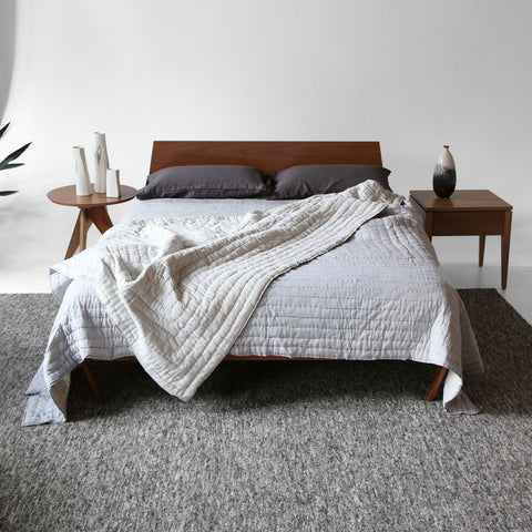 pale grey hand block printed cotton quilt