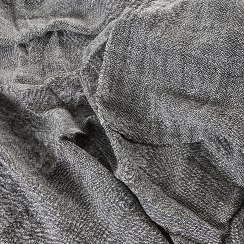 100% linen bed cover - graphite