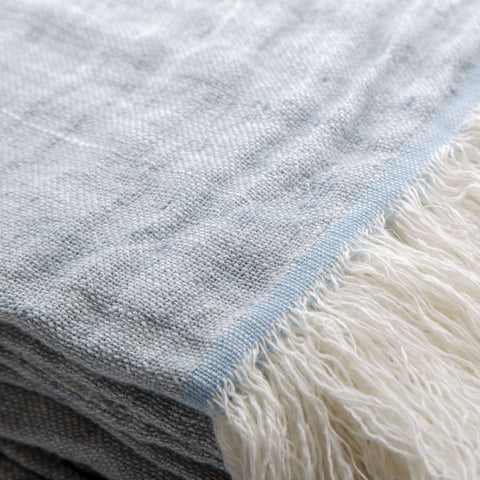100% linen bed cover duck egg blue - 270 x 270cm