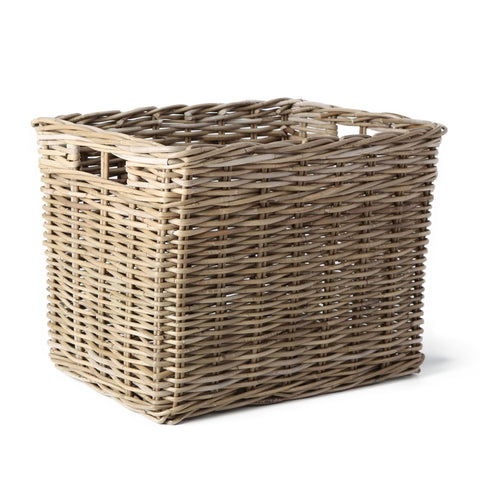 rattan kubu grey deep storage basket