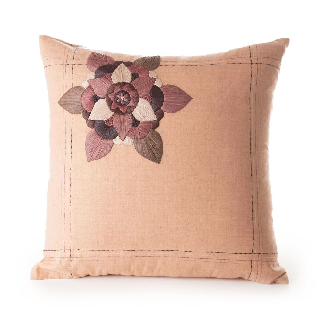 khadi cotton cushion madder / rafia