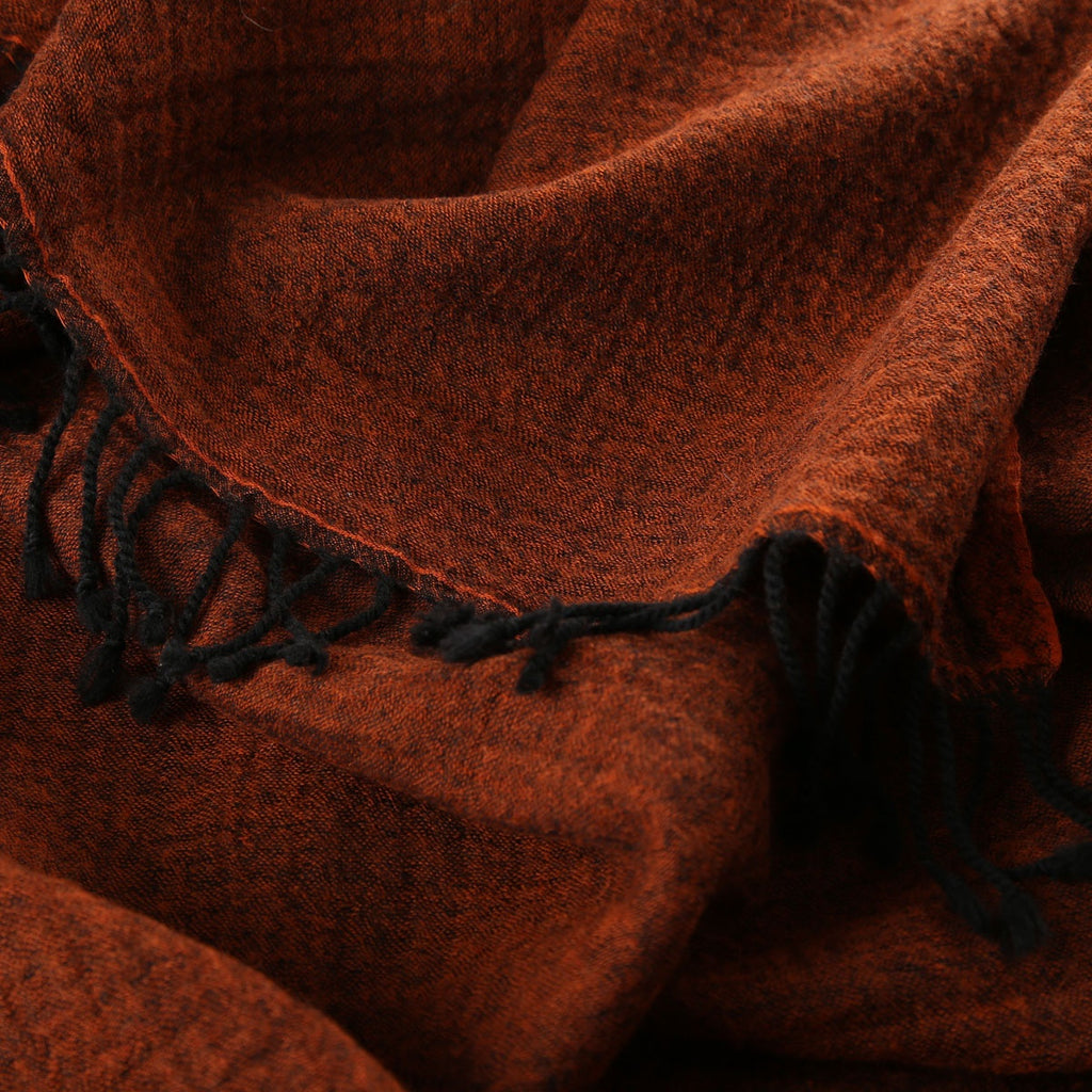rust boiled wool throw