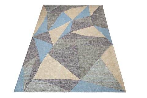 flat weave wool and jute carpet triangle blue