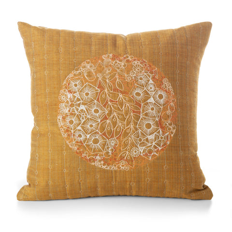 free-hand machine embroidery with handspun and handwoven silk back --amber