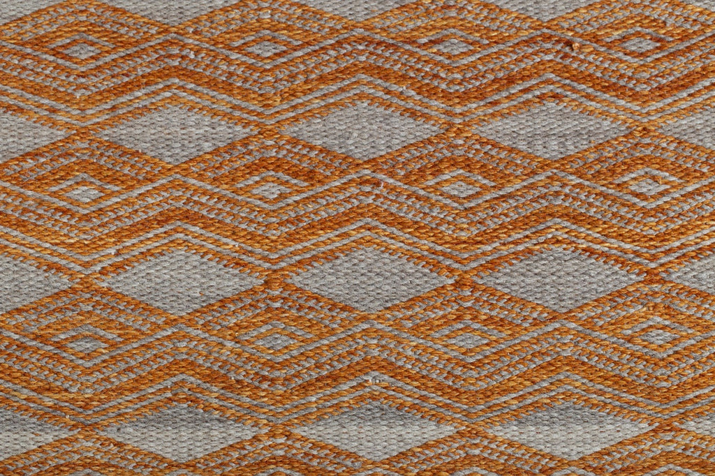 orange + natural colour wool dhurrie handwoven on cotton base multiple sizes available