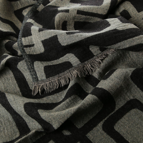 black and grey print boiled wool throw
