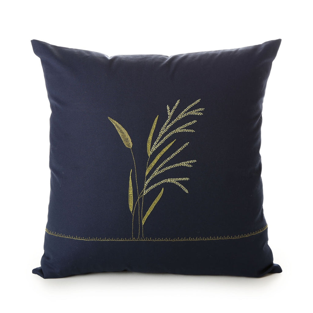 hand embroidered cotton cushion cover - tamil nadu - handwash in lukewarm water - grass design