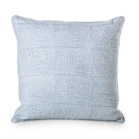 blockprinted linen cushion -tripoli dusk - cold wash separately with mild detergent - do not tumble dry