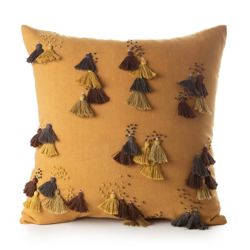 handspun and handwoven cotton cushion turmeric / cotton