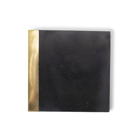 black marble coaster with brass edge