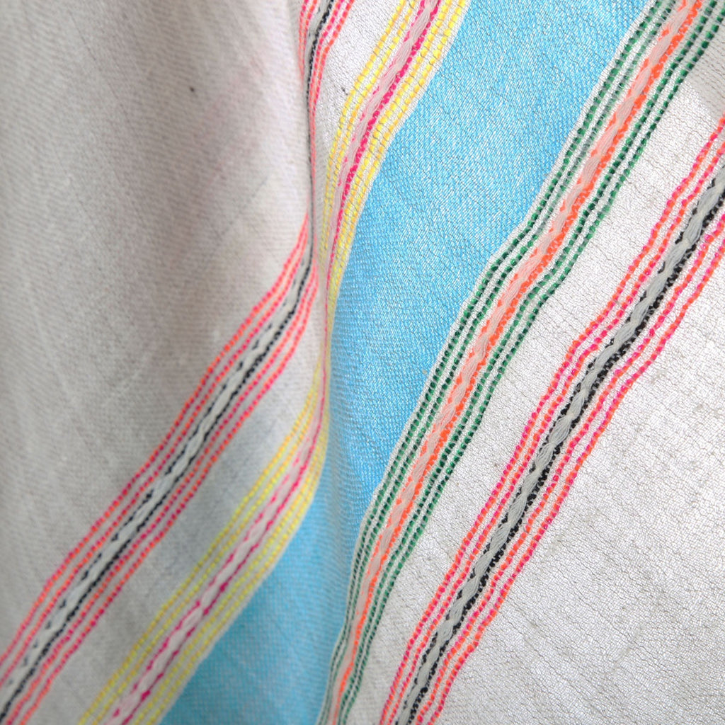 100% pashmina - hand loomed and handwoven aqua lime multiple border