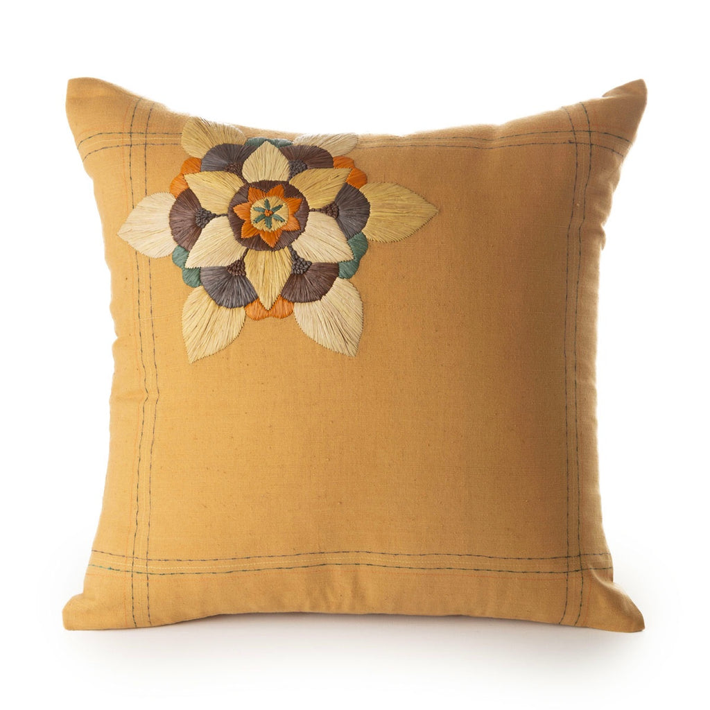 khadi cotton cushion turmeric / rafia